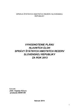 Vyhodnotenie Plánu hlavných úloh SŠHR SR za rok 2013