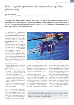 EPIV – regulačný gu¾ový ventil s elektronickou reguláciou