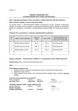 Záznam z prieskumu trhu - DSS Čeláre-Kírť