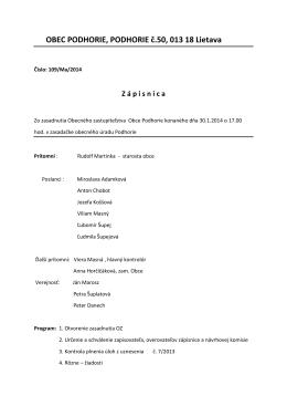 Zápisnica č. 1/2014 zo dňa 30.01.2014