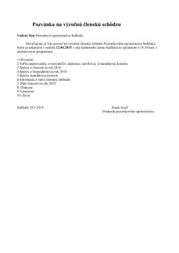 Pozvánka na výročnú členskú schôdzu