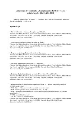 Uznesenie z 23. zasadnutia obce Tovarné konaného 5.7.2014