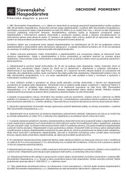 OBCHODNÉ PODMIENKY - ABC Slovenského Hospodárstva