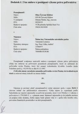 Dodatok c. 2 ku zmluve o postúpení výkonu práva polovníctva