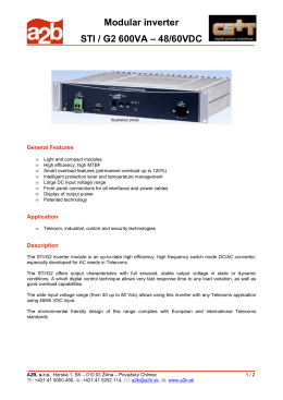 Modular inverter STI / G2 600VA – 48/60VDC