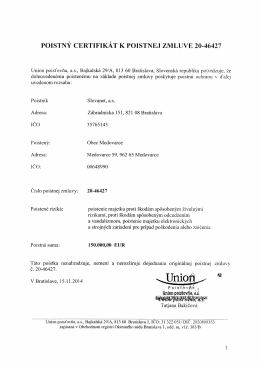Poistná zmluva č.20-46427