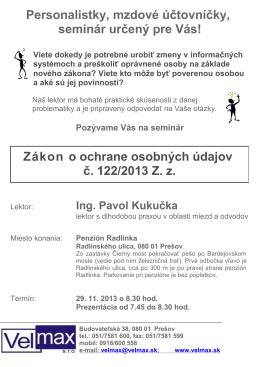 Zákon o ochrane osobných údajov č. 122/2013 Z. z.