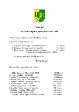 Voľby do orgánov samosprávy obcí 2014 Ervin Varga