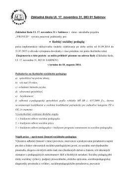 Základná škola Ul - ZŠ Ul. 17. novembra Sabinov