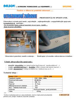 Ultrazvukové zváranie - propag.leták