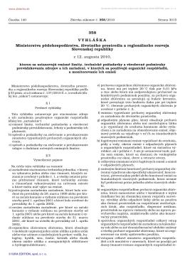 358/2010 Vyhláška Ministerstva pôdohospodárstva, životného