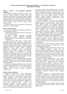 Všeobecné obchodné podmienky spoločnosti FORTISCHEM as, MR
