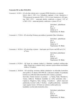 Uznesenie OZ zo dňa 25.04.2014: bytový dom č