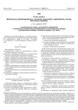 Vyhlaska 363_2010 Z. o monitorovani znecistenia a stac