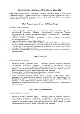 Doktorandské štúdium v odbore 3