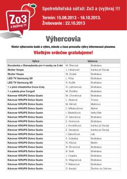 zoznam výhercov - mojasamoska.sk