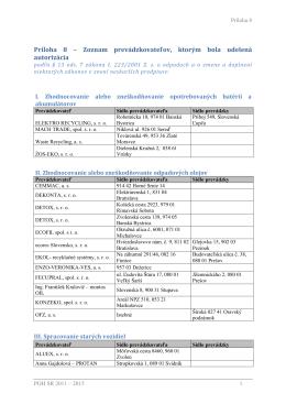 Príloha 8 – Zoznam prevádzkovateľov, ktorým bola udelená