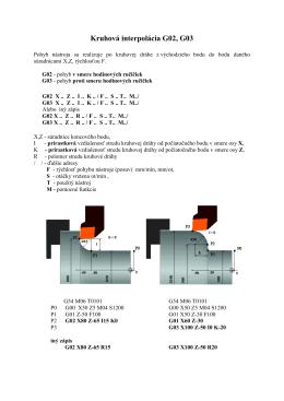 Kruhová interpolácia G02, G03