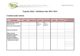 Úspechy školy v školskom roku 2013–2014 Celoslovenské súťaže