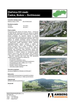 Čadca, Bukov – Svrčinovec - Amberg Engineering Slovakia, sro