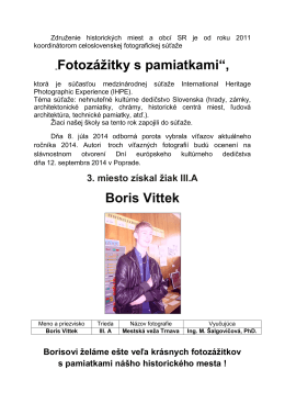 """Fotozážitky s pamiatkami"", Boris Vittek"