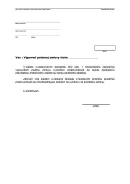 Výpoveď poistnej zmluvy na PZP