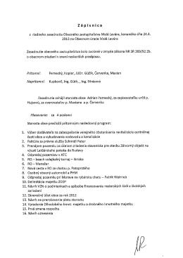 Zápisnica zo zasadnutia OZ 24.04.2013