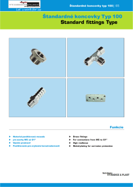 Štandardné koncovky Typ 100 Standard fittings Type