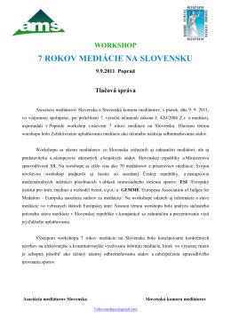 Tlačová správa Workshop 7 rokov mediácie na Slovensku