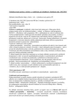 Vyhodnocovacia správa – školský rok 2005/2006