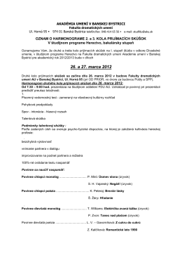26. a 27. marca 2012 - Fakulta dramatických umení Akadémie