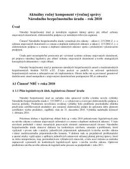 Aktuálny ročný komponent výročnej správy NBÚ rok 2010