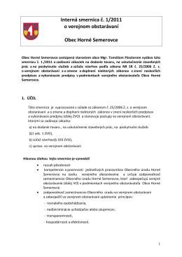 Interná smernica o verejnom obstarávaní