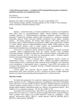 Vzťah aktivity paraoxonázy 1 v závislosti od DNA