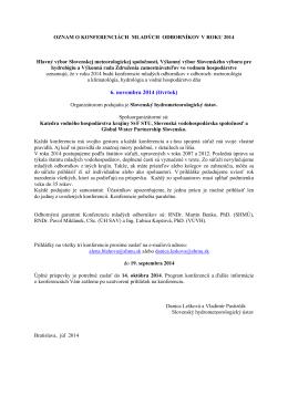 Sprievodný list k pozvánke mladých odborníkov 2014