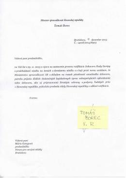 Odpoveď ministra spravodlivosti Tomáša Boreca