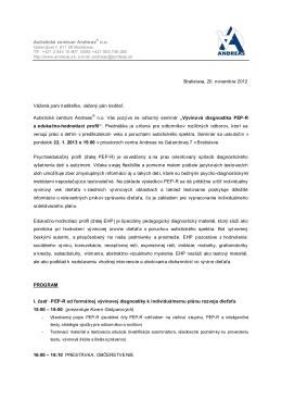 Vývinová diagnostika PEP-R a edukačno