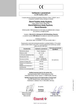 Vyhlásenie o parametroch Eternit Fasádne dosky Equitone