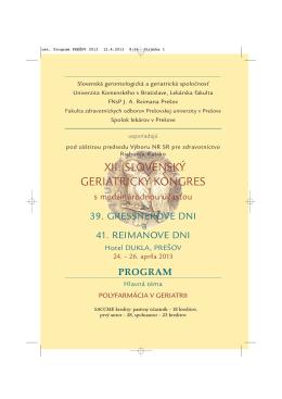 ost. Program PRE.OV 2013 - Slovenská Gerontologická a