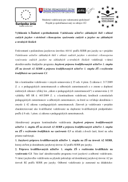 Vyhlásenie k Žiadosti o prehodnotenie Vzdelávania učiteľov