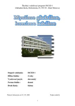 ŠkVP ISCED 1 - 2010 - ZŠ Robotnícka Zlaté Moravce