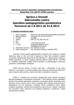 Správa o činnosti SCŠPP Veľká Lomnica 2011/12