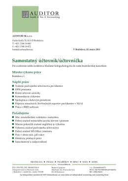 Inzerát samostatná účtovníčka AUSK