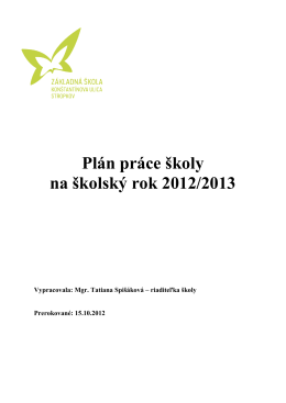 Plán práce školy na školský rok 2012/2013