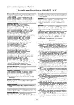 Nuevos táxones (63) descritos en el Boln S.E.A. vol. 46
