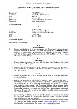 Zmluva o sponzorskom dare - Obec Buzitka, okres Lučenec