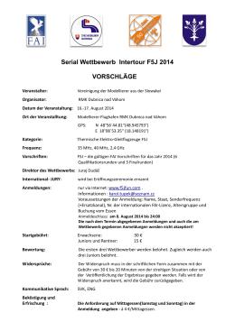 Serial Wettbewerb Intertour F5J 2014 VORSCHLÄGE