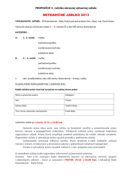 Propozície súťaže - Biely Potok (mestská časť Ružomberok)