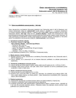 Plný text výzvy - Slovenská Akadémia Vied