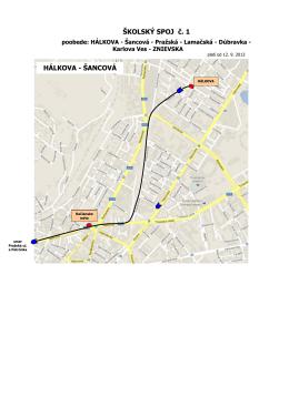 Schéma trasy školského autobusu poobede